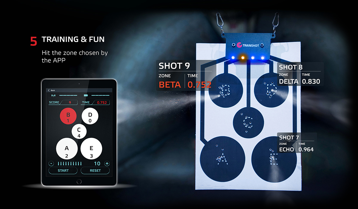 This electronic circle TrainShot target can be used for rapid shooting engagement.