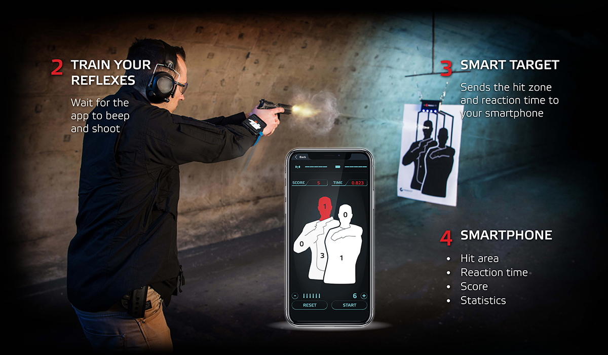 Trainshot reflex drill training mode, electronic shooting scoring system measure time of your shooting reaction.